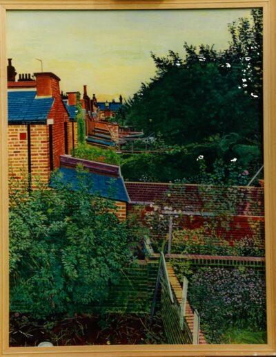 Back gardens: summer evening